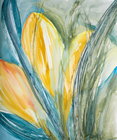 Watercolor spring background: Painted yellow flowers (crocus). Stock Photo