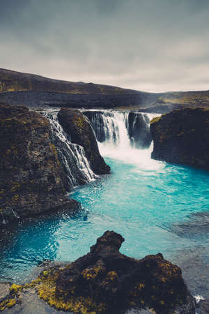 View from above on Hrauneyjafoss waterfalls in Iceland.