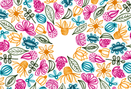 Colorful floral pattern with hand drawn elements. Full frame. White background. Copy space.