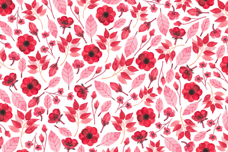 Autumn pattern with watercolor leaves, twigs and flowers on white background. Full frame. Stock Photo