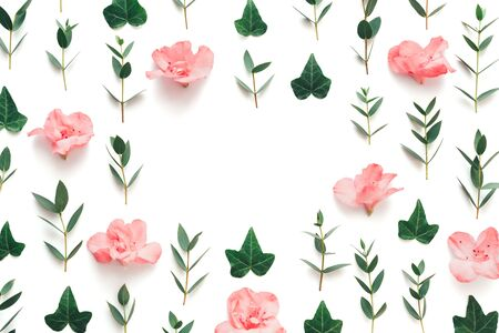 Frame made of soft pink azalea flowers and green leaves on white background. View from above. Copy space. Stock Photo
