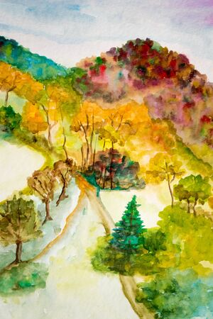 Autumn landscape in watercolor.