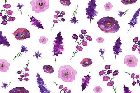 Colorful floral pattern made of watercolor flowers.