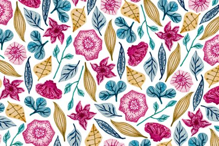 Colorful floral pattern in watercolor. Full frame.