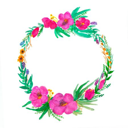 Floral wreath in watercolor on white background. Copy space. 版權商用圖片