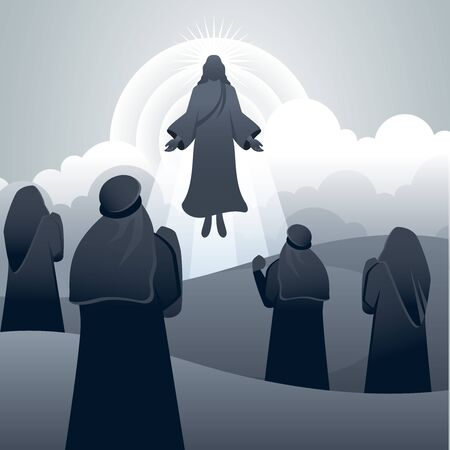 The poster of ascension day with vector illustration style
