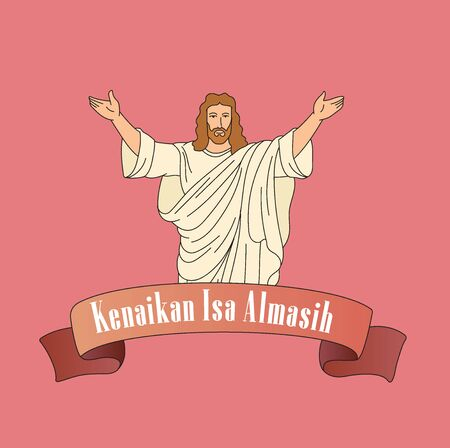 Poster of Ascension of Jesus Christ with Vector Illustration