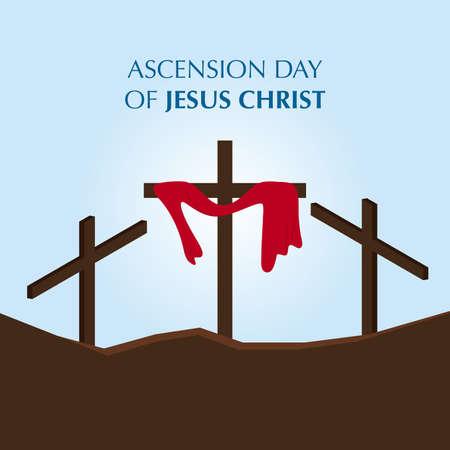 Illustration of Jesus cross to commemorate Ascension Day of Jesus Christ. Illustration
