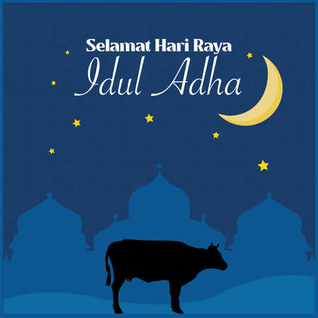 Selamat Hari Raya Idul Adha. Translation: Happy Eid Adha with mosque and cow vector illustration in dark background with moon and stars