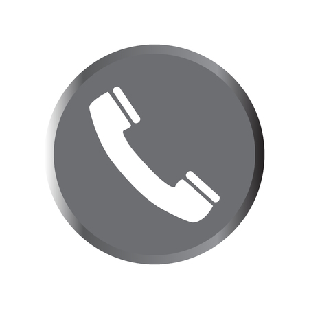 Phone icon - vector illustration with long shadow isolated on gray.
