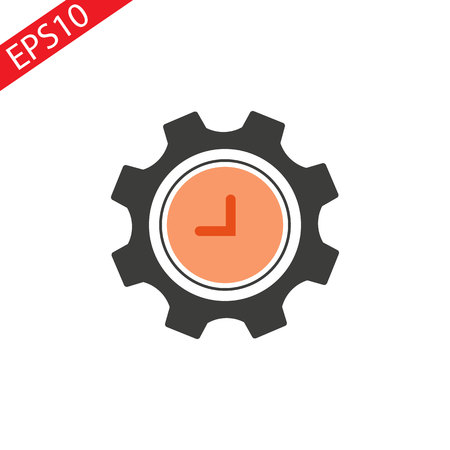 Clock with gear frame icon