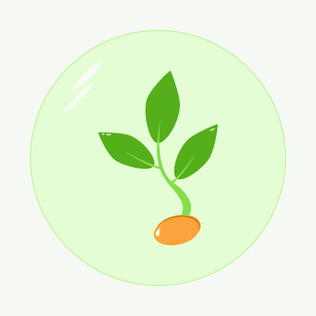 Planting seed sprout in ground. Symbol grow sapling. Icon, flat isolated on white background
