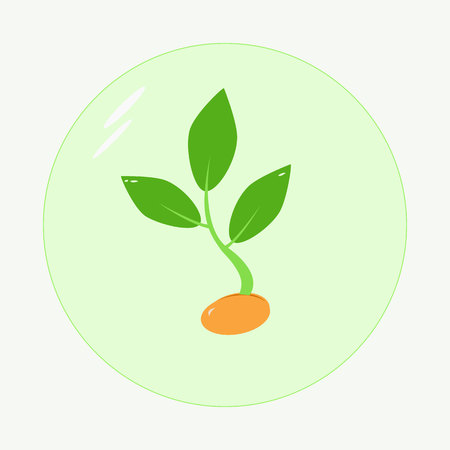 Planting seed sprout in ground. Symbol grow sapling. Icon, flat isolated on white background.