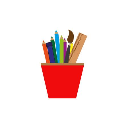Lápices de vector y regla en vidrio colorido icono sobre fondo blanco, plano aislado