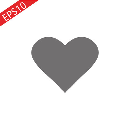 Heart Icon Vector. Love symbol. Valentine s Day sign, emblem isolated on white background with shadow, Flat style for graphic and web design, logo. EPS10 black pictogram Ilustração