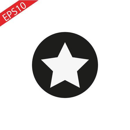Star in circle icon. Flat vector illustration in black on white background. EPS 10 Illustration