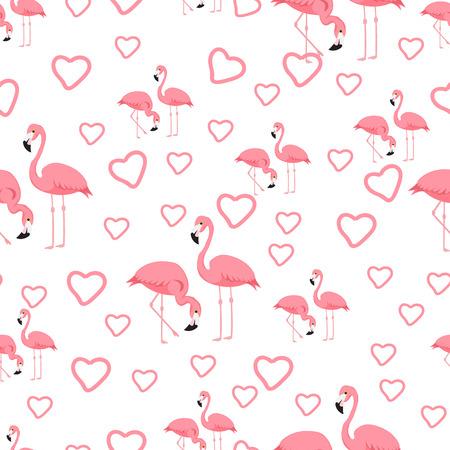 Fondo de flamenco de pájaro tropical - vector de patrones sin fisuras