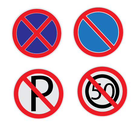 No parking sign set on white background.