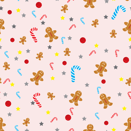 Vector Christmas seamless background with snowmen, stockings, Santa hats, holly, boxes, cookies, oranges, snowballs, candy canes and fir branches on blue Illustration