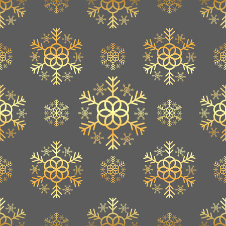Christmas dark seamless pattern with gold vintage snowflakes and stars and balls vector