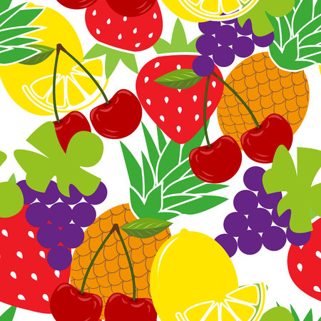 Seamless background with various tropical fruits on white. Vector fruit pattern. Vetores