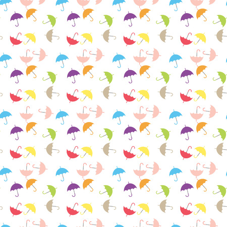 Watercolor umbrellas seamless pattern. Colorful vector illustration, suitable for wallpaper, web page background, kids textile. eps 10.