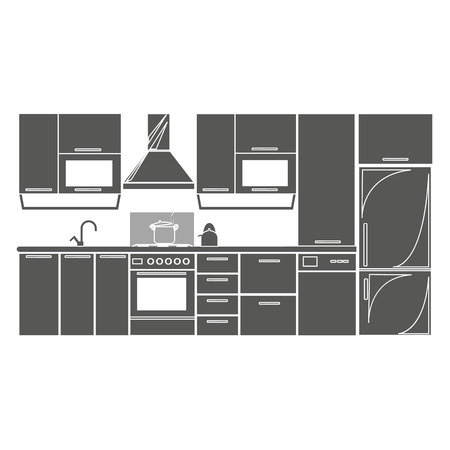 drawing kitchen interior plan icon . Isolated badge kitchen project flat design for website or app - stock graphics
