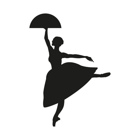 Silhouette of a dancing ballerina. Isolated background, white .sketch , vector, grace. Banque d'images - 121631899