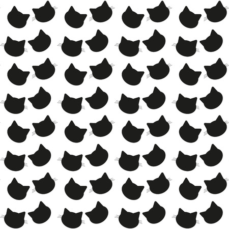 Abstract seamless pattern with cats had for fashion clothes, t shirt, girls, teenagers. Kitty repeated backdrop on white background with character art in black and bright colors. Childish wallpaper. eps 10
