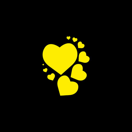 Yellow heart black background. Vector illustration. eps 10 Фото со стока