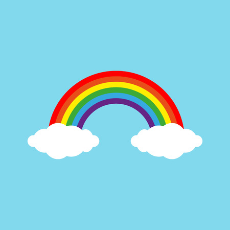 Color Rainbow With Clouds, With Gradient Mesh, Vector Illustration. eps 10 Vecteurs