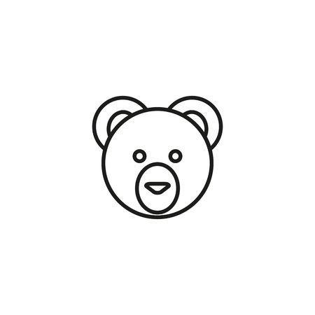 line cute teddy bear head design white background. eps 10.