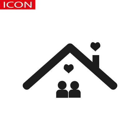 happy couple home icon vector on the gray background.eps 10