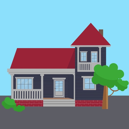 Colorful Flat Residential Houses vector. eps 10 Vectores