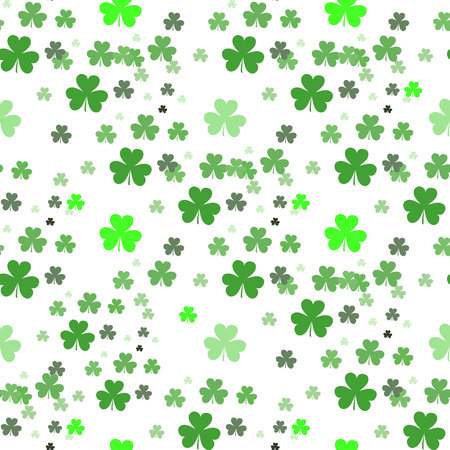 St Patrick s Day Clover seamless pattern. Vector illustration for lucky spring design with shamrock. Green clover isolated on white back ground. Ireland symbol pattern. Irish decor for web site. eps 10 Ilustração