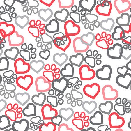 Dog Paw Cat Paw heart love puppy foot print kitten valentine vector Seamless Pattern wallpaper background. eps 10. Vetores