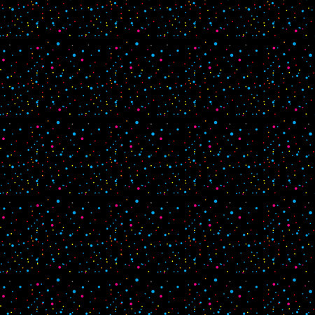 Rainbow stars, iridescent dots, shiny confetti. Scattered little sparkling, glitter balls, circles. Random stellar falling on black background. New Year Christmas background. Vector illustration.eps 10. Ilustrace