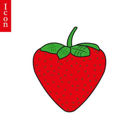 Strawberry icon vector symple flat design