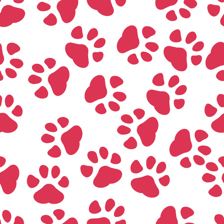 Colorful hand drawn watercolor illustration with animal footprints. red paw. eps 10.