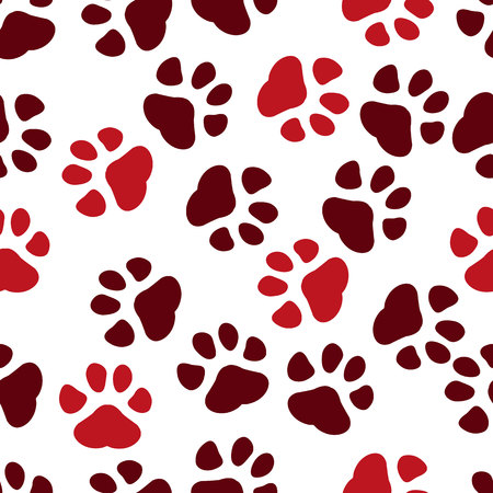 Paw print seamless. Traces of Cat Textile Pattern. Cat footprint seamless pattern. Vector seamless. eps 10. Ilustrace
