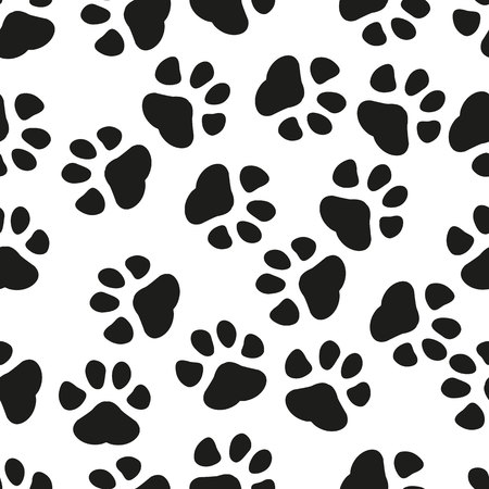 Animal paw print seamless pattern background. Business flat vector illustration. Dog or cat pawprint sign symbol pattern. eps 10. 일러스트