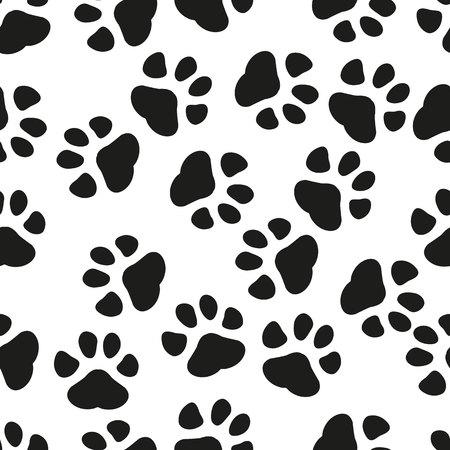 Impression de patte d'animal de fond sans couture. Illustration vectorielle plane d'affaires. Modèle de symbole de signe d'empreinte de chien ou de chat. eps 10.