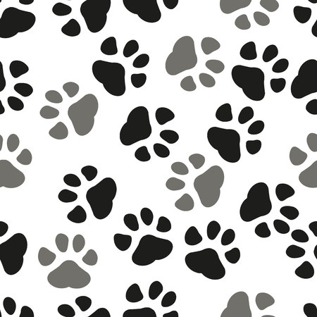 Paw print seamless. Traces of Cat Textile Pattern. Cat footprint seamless pattern. Vector seamless. eps 10.