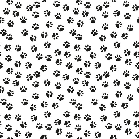 Dog paw print vector seamless pattern or background. eps 10.