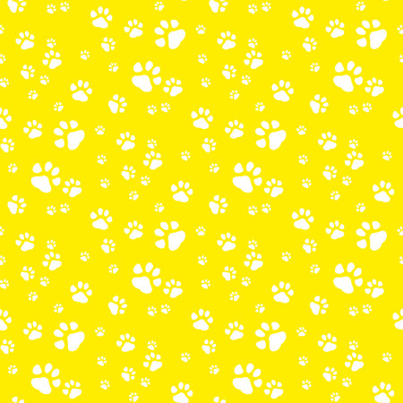 Paw print seamless pattern yellow background.eps 10 Ilustração