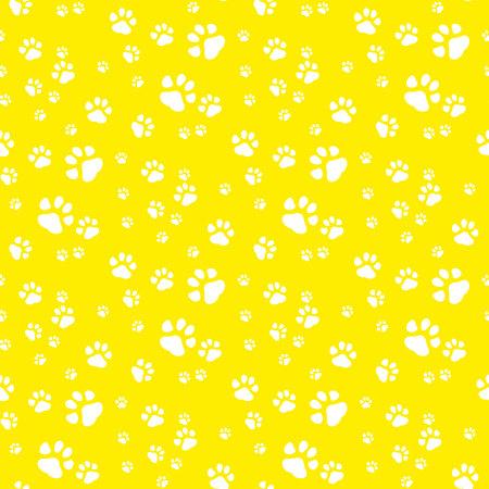 Paw print seamless pattern yellow background.eps 10 Illustration