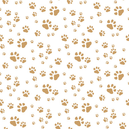 Seamless vector pattern with cartoon bones and paws on brown background. eps 10.