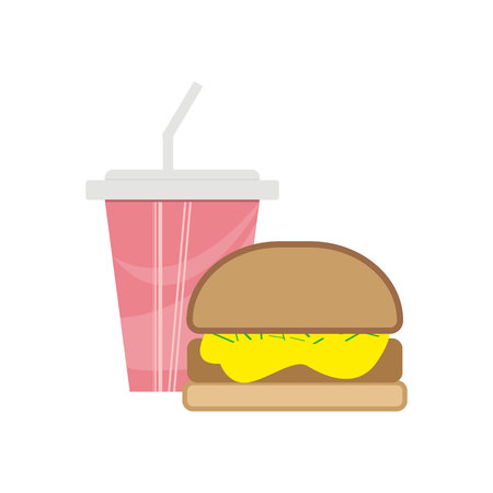 Burger and soda in a paper cup - cute cartoon colored picture. Menu design elements. Vector illustration of fast food. eps 10.