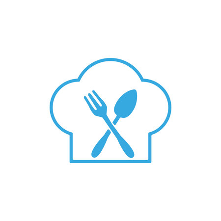 Line stye chef hat with fork and spoon in vector format. eps 10.