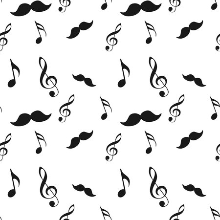 Seamless hipster illustration set with mustache music note and bow raw brush texture background pattern in vector.eps 10. Illustration